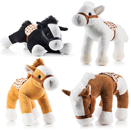 Prextex Jumbo 10'' Tall Plush Horses Stuffed Animal Horses 4 ()