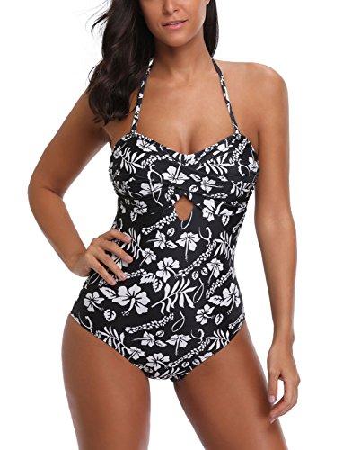 Mari Cias Padded Slimming Swimsuits for Women Tummy Control Retro (L,Black)