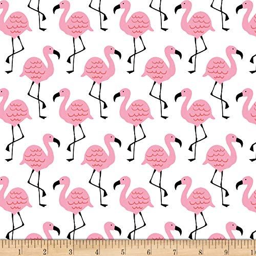 Studio E Fabrics Summerlicious Flamingo White/Pink, Fabric by the Yard