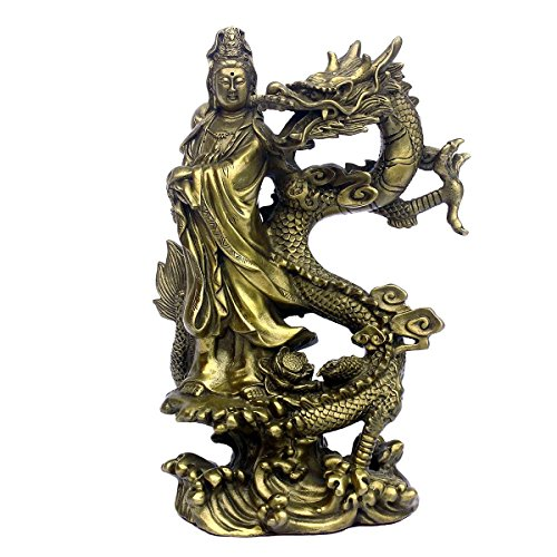 Chinese Brass Kwan-yin/Guanyin Ride the Dragon Fengshui Statue Attract Wealth Lucky Home Decor