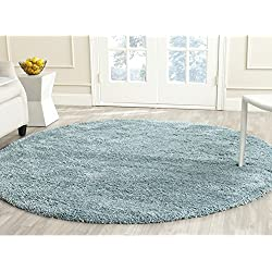 "Safavieh California Premium Shag Collection SG151-6060 Light Blue Round Area Rug (6'7"" Diameter)"