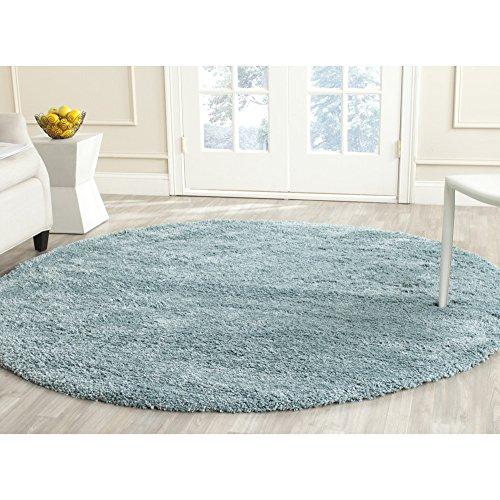 Safavieh California Premium Shag Collection SG151-6060 Light Blue Round Area Rug (6'7