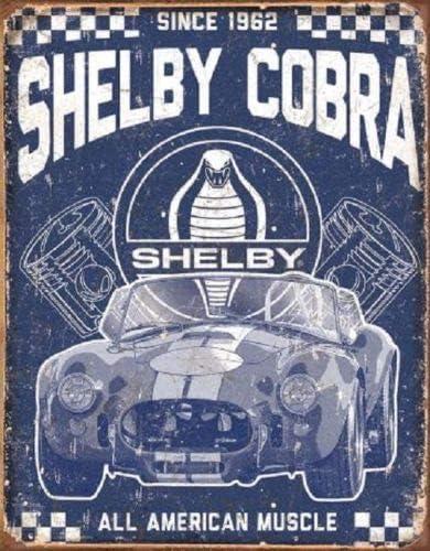 METAL VINTAGE SHABBY-CHIC TIN SIGN SHELBY COBRA PLAQUE//FRIDGE MAGNET