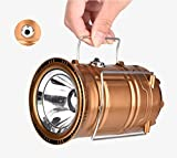 Camping Lantern Lights Tactical Flashlight Solar Folding 6 LED Bright Lamp Emergency Tent Light for Outdoor Play Camp Hiking Fishing Portable Mini USB Supply Power to Phone (Gold, D 2.95' x H 5.31')