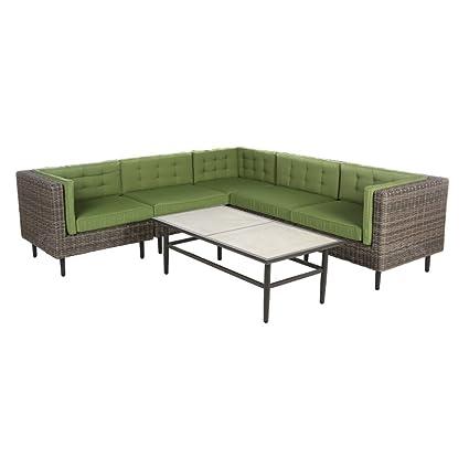 AE Outdoor Aimee 6 Piece Sectional Sofa With Sunbrella Cushions