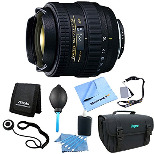 Tokina - AT-X AF 10-17mm f3.5-4.5 DX Fisheye Lens for Nikon DSLRs. Lens Kit Bundle Includes: Lens, Deluxe Gadget Bag, 3pc. Lens Cleaning Kit, Digital Grey Card Set, Dust Removal System, Memory Card Wallet, Lens Cap Keeper, and Microfiber Cleaning Cloth. by Tokina