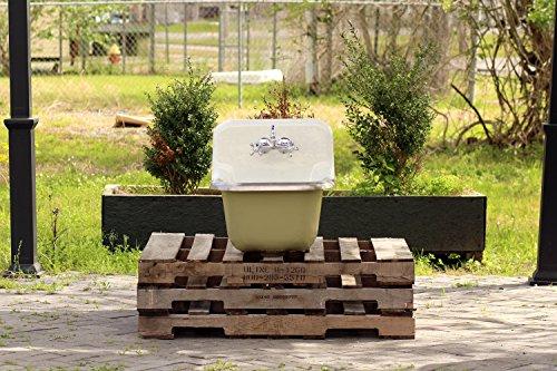 - Antique Inspired Utility Sink Deep Basin Kohler Cast Iron Original Porcelain Farm Sink Green Ground
