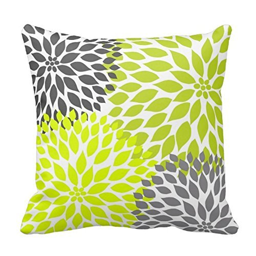 Chartreuse Dahlia Pillows Square Pillow product image