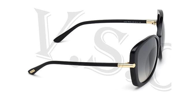 d77b53ceaef44 Amazon.com  Tom Ford Linda TF0324 Sunglasses 01B - Shiny Black   Gradient  Smoke 59 mm  Clothing