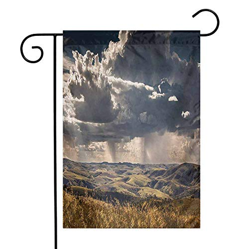 Rustic Garden Flag Puffy Clouds in The Sky Over Mountains Rough Valley Canyon Natural Wonders Concept Decorative Flags for Garden Yard Lawn W12 x L18 Multicolor