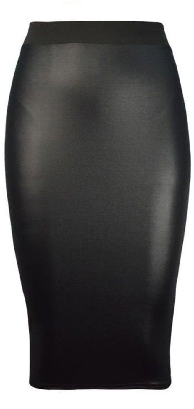 Forever Womens Celebrity Inspired High Waisted Wetlook Bodycon Midi Pencil Skirt