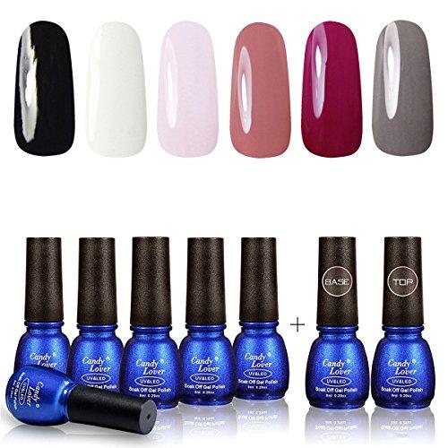 Perfect Summer Gel Nail Polish 6 Colors Gel Varnish + Top Coat Base Gel Semipermanent Soak Off UV LED Manicure Candy Lover Series Black Color, White Color 8ML 0141