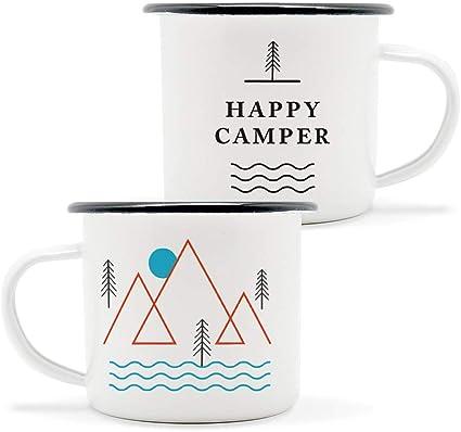 Happy Camper - Juego de dos tazas de camping esmaltadas para un camping blanco y negro, ecológicas, aptas para horno, aptas para fuego, el tamaño ...