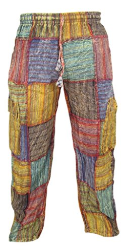 Little Kathamandu Cotton Patchwork Summer Casual Elastic Drawstring Trousers X-Large