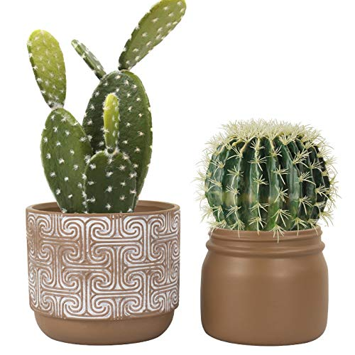 Terracotta Pots Clay Planters - 6.3 Inch Pack 2 Modern Round Ceramic Pottery Succulent Cactus Flower Pots with Drainage Hole for Garden Indoor Outdoor, Rustic Home Decor (Pottery Outdoor Garden)