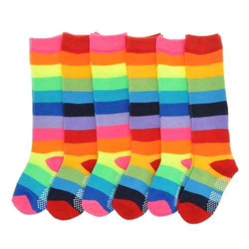 Angelina 6 Pairs [Rainbow] Knee Socks w/Non-Skid Bottom #2540_4-6_6 (Knee Socks Girls)