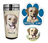 Pet Lovers Yellow Lab Stainless Steel Travel Mug, Car Magnet, and Car Coaster Set