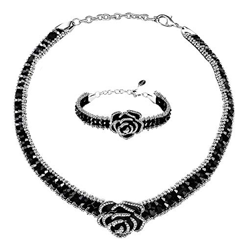Lavencious Black Beaded Choker Necklace and Bracelet Set with Black Enamel Crystal Rose Pendant Lobster Clasp