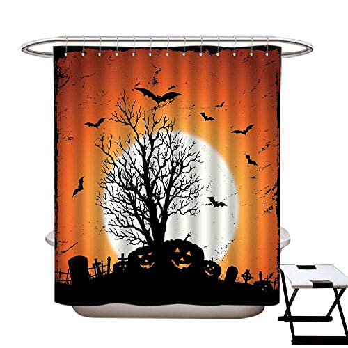 homecoco Vintage Halloween Polyester Fabric Shower Curtain Liner Grunge Halloween Image with Eerie Atmosphere Graveyard Bats Pumpkins Water Repellent & Stain Resistant Orange Black ()