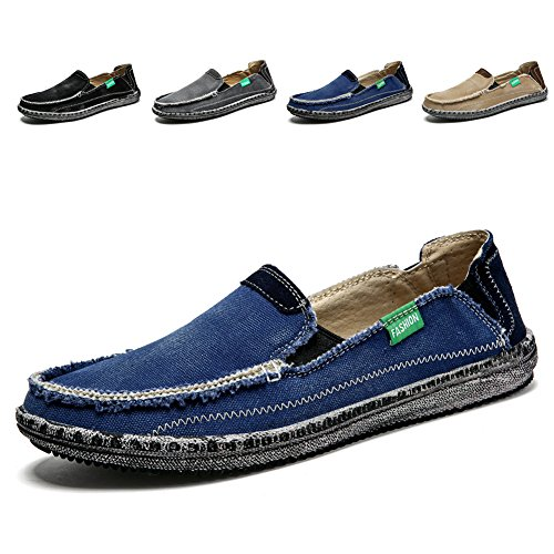 Men's Slip on Deck Shoes Loafers Canvas Boat Shoe Non Slip Casual Loafer Flat Outdoor Sneakers Walking (Blue,6.5)