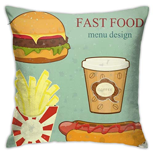 yinchuyindianzi Pillowcase Vintage Fast Food Menu Bedding Square Standard Pillowcases Cotton Hotel Quality Pillow Cases