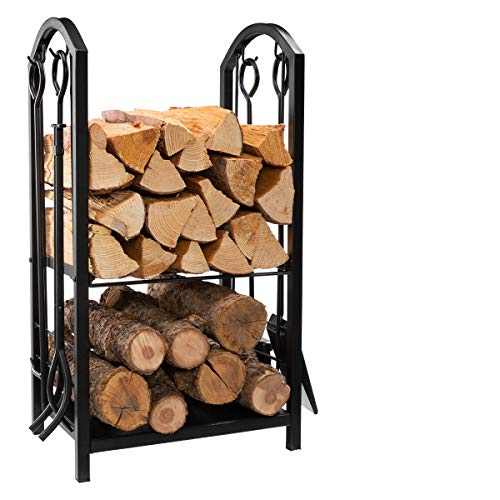 "DOEWORKS All-in-One Heavy Duty Hearth Firewood Rack with Fireplace Tools Set, 18"" Wide x 27.5"" Tall Log Holder, Black"