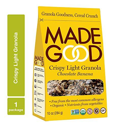 MadeGood Chocolate Banana Crispy Light Granola 10 oz Package NutFree GlutenFree Allergy Friendly USDA Certified Organic Ingredients Vegan NonGMO Perfect Nutritious Convenient Breakfast