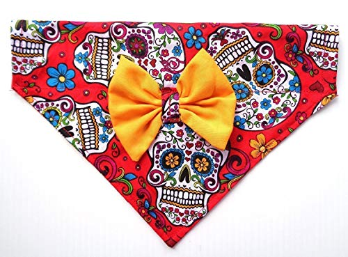 2 in 1 Bow and Bandanna Sugar Skull Day of the Dead Calavera Cinco de Mayo Print, Over the Collar Slip Thru Thread Through Style Neckwear Petwear by puranco inc
