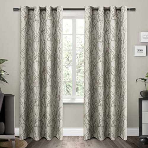 Stylish Natural Branches Linen Blend Window Curtain Panel Set, 84