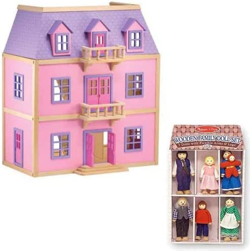 B0016MWWRU Melissa & Doug Multi-Level Solid Wood Dollhouse w/ Family of 5 Dolls 511Exwqw9FL.