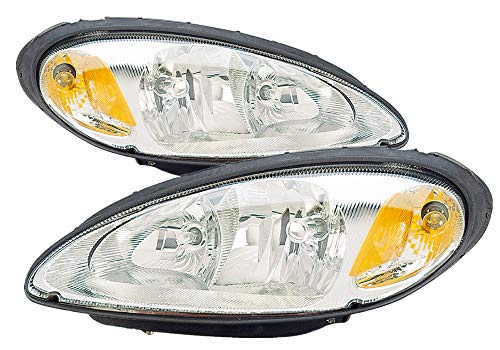 (For 2001 2002 2003 2004 2005 Chrysler Pt Cruiser Headlight Headlamp Assembly Driver Left and Passenger Right Side Pair Set Replacement CH2502131 CH2503131)