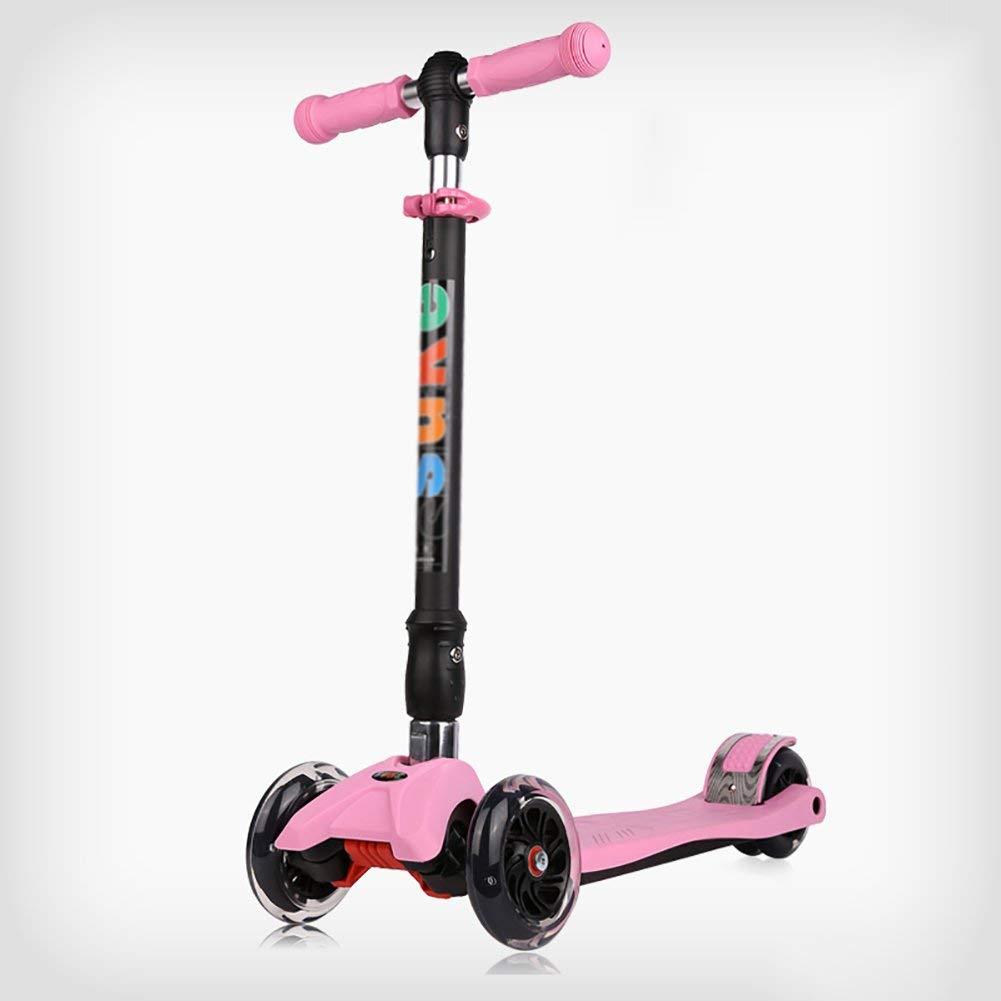CMXIA Altezza Regolabile per Bambini Scooter Regolabile Pieghevole per Principianti da 2 a 12 Anni Baby può Scegliere tra Una varietà di Colorei in Flash a Quattro Ruote ( Colore   rosa )