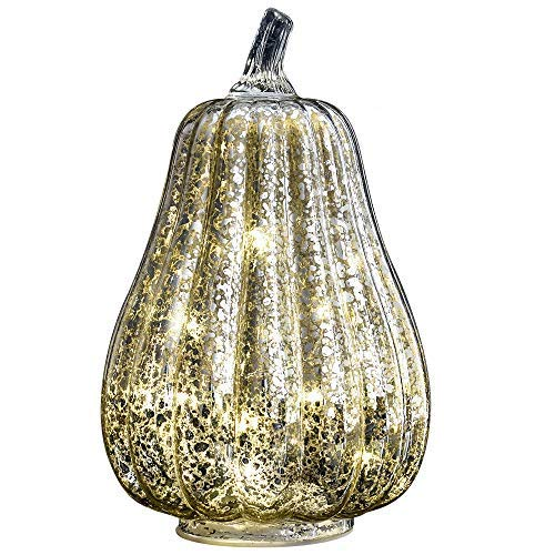 - JARVANIA Halloween Pumpkin Lantern Light, Jack o Lantern Decorative Pumpkins Mercury Glass Decor Fall Decorations Led Timer Candles Battery Operated (Silver, Large)