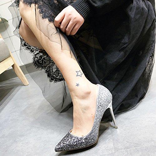 Black Shoes High Leisure Shoes Sequins Lady 10Cm Single Sexy Spring Banquet Thin Fashion Heel 37 Heels Elegant Fine Sharp MDRW Work HFUtq