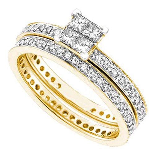 Roy Rose Jewelry 14K Yellow Gold Womens Princess Diamond Eternity Bridal Wedding Engagement Ring Band Set 1 Carat tw ~ Size 7 (Eternity Princess Band Set Diamond)