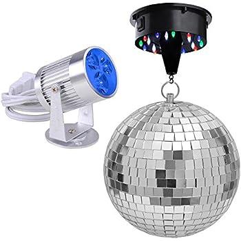 yescom 12 mirror disco ball w rotating motor 3w 3 blue led pinspot spot light kit home party. Black Bedroom Furniture Sets. Home Design Ideas