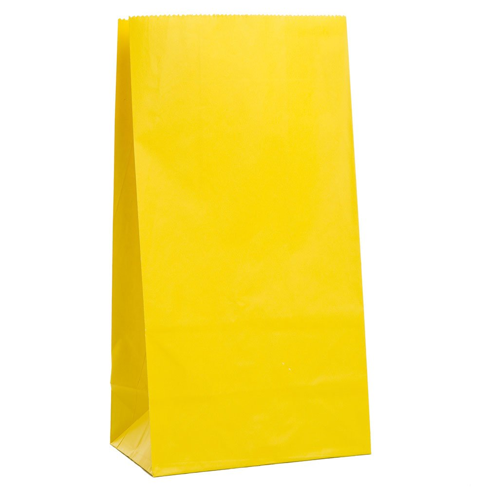 Paper bag yellow - Amazon Com Yellow Paper Party Favor Bags 12ct Gift Wrap Bags Kitchen Dining