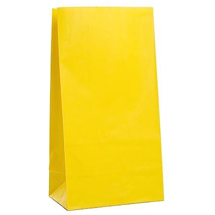 Unique Party- Paquete de 12 bolsas de regalo de papel, Color amarillo (59000)