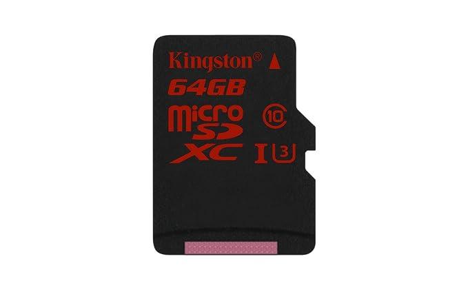 Kingston Digital 64GB microSDXC UHS-I Speed Class 3 Flash Memory Card (SDCA3/64GBSP)