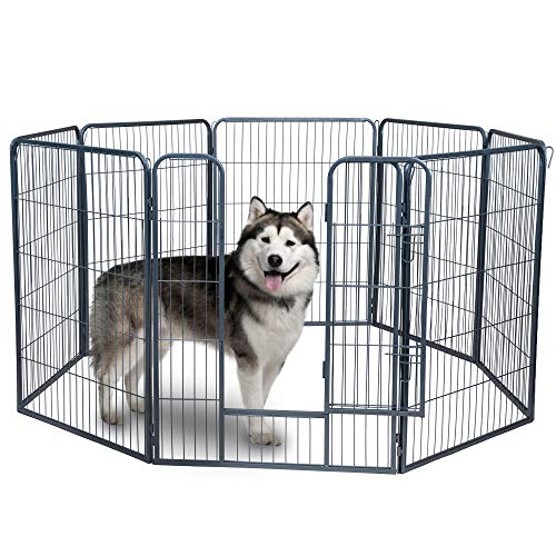 Pet Exercise Pen Tube Gate w/ Door - (8 Panel Playpen) Heavy Duty Folding Metal Out-Door Fence - 40