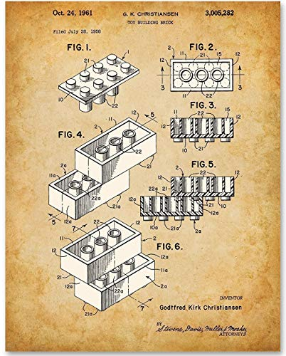 Lego Brick Art - 11x14 Unframed Patent Print - Great for Boy's Room Decor
