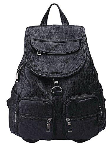 Leather Backpack for women,School College Bookbag Laptop Computer Backpack for girls Fashion Daypack Black ()