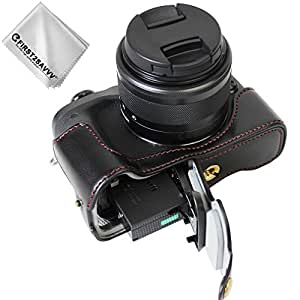 First2savvv Negro Funda Cámara Cuero de la PU cámara Digital Bolsa Caso Cubierta para Canon EOS M6 XJD-EOSM6-D01G11