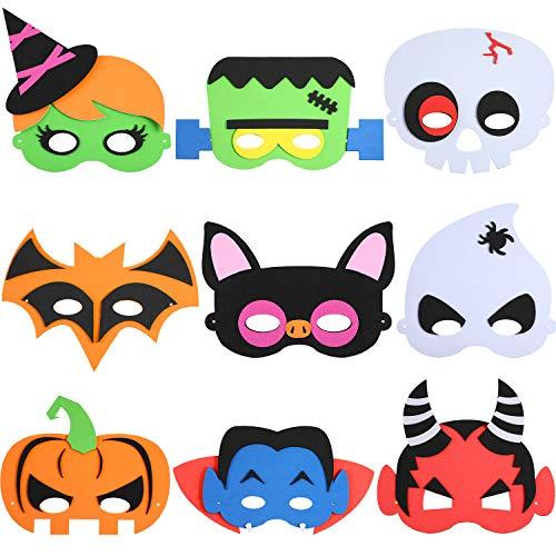 9 Pieces Halloween DIY Masks Cartoon Costume Masks Masquerade Face Masks Craft Kit for Halloween Costume Party Supplies