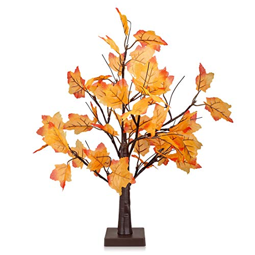 - SILIVN LED Lighted Maple Tree - Dotted with Orange Yellow Maple Leaves and 24 Warm White LED Lights, 1.6 ft(1 Pack)