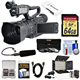 JVC GY-HM200U Ultra 4K HD 4KCAM Professional Camcorder & Top Handle Audio Unit with XLR Microphone + 64GB Card + LED Video Light + Kit