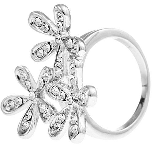 Rhodium Plated Flower Ring - 4