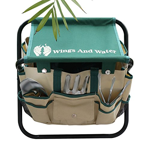 Wings and Water 7 Piece Garden Tool Set, All-In-One Tool Bag, Durable Folding Stool, Stainless Steel by Wings and Water (Image #1)