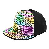 La moriposa Unisex Kid Shiny Rivet Sequins Reflective Baseball Snapback Cap Dance Party Adjustable Hip-Hop Hat(Multi-Color)