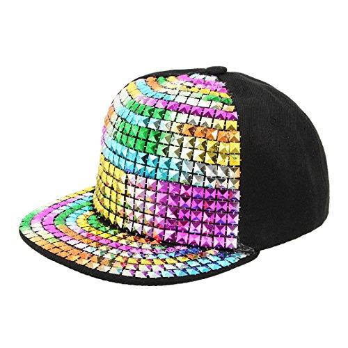 La moriposa Unisex Kid Shiny Rivet Sequins Reflective Baseball Snapback Cap Dance Party Adjustable Hip-Hop Hat(Multi-Color) by La moriposa